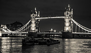 Tower Of London Prints - Tower Bridge and Barges Print by Dawn OConnor