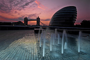 City Hall Digital Art - Tower Bridge Sunrise by Donald Davis