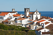 Gaspar Avila Framed Prints - Town by the sea Framed Print by Gaspar Avila