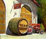 Wine Barrel Paintings - Tractor Pull by Karen Fleschler