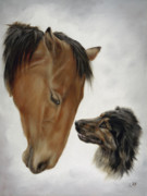 Horse Art Posters - Trail Mates Poster by Cathy Cleveland