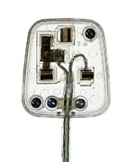 Electrical Plug Prints - Transparent Plug Print by Mark Sykes