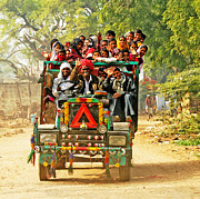 Illustrative Photo Prints - Transport in India Print by Karel Noppe