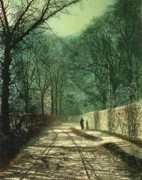 Pathway Painting Metal Prints - Tree Shadows in the Park Wall Metal Print by John Atkinson Grimshaw