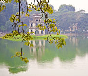 Ruins Photos - Tree with View of Hoan Kiem Lake, Hanoi, Vietnam, Asia by David Buffington