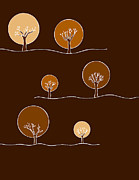 Brown Drawings - Trees by Frank Tschakert