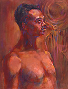 Male Pastels Originals - Tribesman by Joan  Jones
