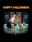 Creepy Mixed Media - Trick or Treat Time for Little Ducks by Gravityx Designs