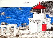 Ocean Images Drawings Posters - Trinidad Memorial Lighthouse Poster by Frederic Kohli