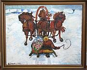 Sledge Originals - Troika Sledge in Winter Landscape by Schardin
