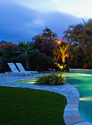 Lawn Chair Posters - Tropical Backyard Pool at Night Poster by Inti St. Clair