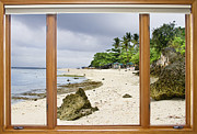 Tropical Jungle Paradise Window Scenic View Print by James Bo Insogna