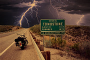 Dark Skies Digital Art Framed Prints - Trouble In Tombstone Framed Print by Gary Baird