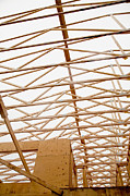 Residential Structure Prints - Trusses in Home Under Construction Print by Inti St. Clair