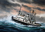 Artist James Williamson Fine Art Prints Prints - Tugboat ARTHUR FOSS Print by James Williamson