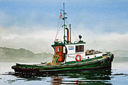 Nautical Print Painting Originals - Tugboat LELA FOSS by James Williamson