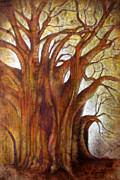 Tree Art Mixed Media Framed Prints - Tule Tree Framed Print by Juan Jose Espinoza