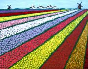 Floral Landscape Paintings - Tulip Fields by Frederic Kohli