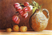 Squash Paintings - Tulips and Squash by David Lloyd Glover
