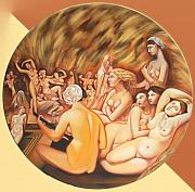 Girls Mixed Media - Turkish Bath - Hamam -  tribute to Ingres by Ismaele Alongi