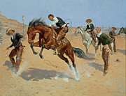 Saddle Metal Prints - Turn Him Loose Metal Print by Frederic Remington