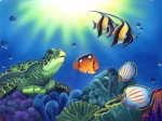 Coral Reef Posters - Turtle Dreams Poster by Angie Hamlin