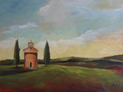 Tuscan Hills Paintings - Tuscan Landscape by Julie Dalton Gourgues