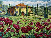 Fragrant Painting Framed Prints - Tuscan Poppies Framed Print by Richard T Pranke