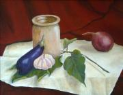 Vegetables Paintings - Tuscan Table by Pamela Allegretto
