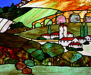 Village Glass Art Prints - Tuscany Hills Print by Jane Croteau