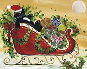 Tuxedo Santa Claus  Cat Print by Sylvia Pimental