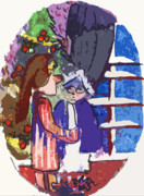 Curtains Mixed Media Posters - Twas the Night before Christmas Poster by Mindy Newman