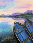 Boats Pastels Posters - Twilight at Rest Poster by Judy Via-Wolff
