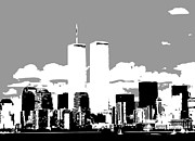 The Twin Towers Of The World Trade Center Digital Art Prints - Twin Towers BW3 Print by Scott Kelley