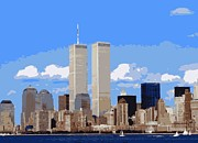 Twin Towers Trade Center Digital Art Posters - Twin Towers Color 16 Poster by Scott Kelley