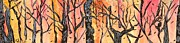 Signed Art Tapestries - Textiles Prints - Twisted Trees Print by Katina Cote