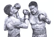 Gloves Drawings - Two Boxers Slug It Out by Evelyn Sichrovsky