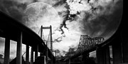 Black And White Photography Digital Art Metal Prints - Two Bridges One Moon Metal Print by Wingsdomain Art and Photography
