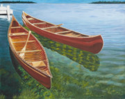 Shimmering Paintings - Two Canoes by Liz Zahara