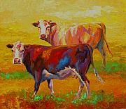 Farms Framed Prints - Two Cows Framed Print by Marion Rose