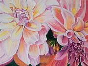 Blooms Pastels - Two Dahlias by Lucinda  Hansen