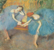 Blue Pastels Posters - Two Dancers at Rest Poster by Edgar Degas