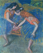 Orange Pastels Framed Prints - Two Dancers Framed Print by Edgar Degas