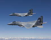 Two By Two Framed Prints - Two F-15 Eagles Conduct Air-to-air Framed Print by HIGH-G Productions