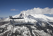 Mountains Art - Two F-15 Eagles Fly Past Snow Capped by HIGH-G Productions