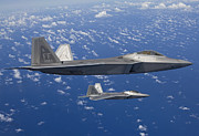 Close To People Posters - Two F-22 Raptors Fly In Formaton Poster by HIGH-G Productions