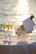 Ice Wine Prints - Two Glasses Of Champagne At Sunset Print by Bill Holden