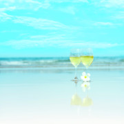 Ocean. Reflection Art - Two glasses of white wine by MotHaiBaPhoto Prints