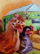 Suzanne Willis Metal Prints - Two Hens at Sunrise Metal Print by Suzanne Willis