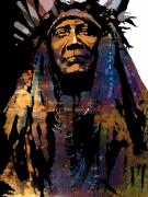 American Indian Portrait Prints - Two Moons Print by Paul Sachtleben